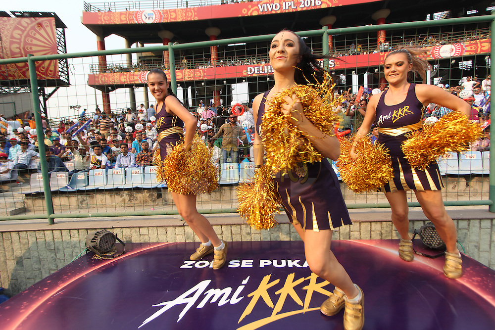 Kolkata Knight Riders cheerleaders  during match 26 of the Vivo IPL ( Indian Premier League ) 2016 between the Delhi Daredevils and the Kolkata Knight Riders held at The Feroz Shah Kotla Ground in Delhi, India,  on the 30th April 2016<br /> <br /> Photo by Arjun Singh / IPL/ SPORTZPICS