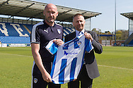 Colchester United unveil John McGreal as their new manager alongside Chairman Robbie Cowling (right) at the Weston Homes Community Stadium, Colchester<br /> Picture by Richard Blaxall/Focus Images Ltd +44 7853 364624<br /> 04/05/2016