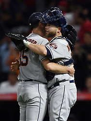 May 16, 2018 - Anaheim, CA, U.S. - ANAHEIM, CA - MAY 16: Houston Astros pitcher Justin Verlander (35) hugs catcher Brian McCann (16) after Verlander pitched a complete game to defeat the Los Angeles Angels of Anaheim 2 to 1 in a game played on May 16, 2018 at Angel Stadium of Anaheim in Anaheim, CA.(Photo by John Cordes/Icon Sportswire) (Credit Image: © John Cordes/Icon SMI via ZUMA Press)