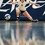 Lucee Fitzgerald, a libberro for Irvine Valley College, watches the ball hit the ground as Golden West College scores the final point of the set on November 4, 2016.  Golden West College won the game 3-0.