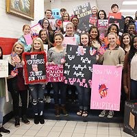 RAY VAN DUSEN/BUY AT PHOTOS.MONROECOUNTYJOURNAL.COM<br /> Nettleton High School anatomy and physiology students display their 3D Valentine's Day cards, which were part of their lesson on heart health in February.