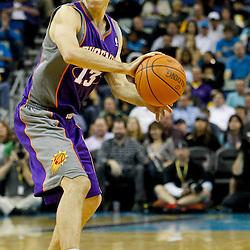 December 30, 2011; New Orleans, LA, USA; Phoenix Suns point guard Steve Nash (13) against the New Orleans Hornets during the fourth quarter of a game at the New Orleans Arena. The Suns defeated the Hornets 93-78.   Mandatory Credit: Derick E. Hingle-US PRESSWIRE