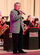 "Vocalist Henry ""Shig"" Sakamoto performs with the Minidoka Swing Band, 2011 Mochituski, Auditorium, Scottsh Rite Center, Portland, Oregon"