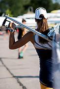 Plovdiv BULGARIA. 2017 FISA. Rowing World U23 Championships. <br /> Athlete Carrying Her Boat.<br /> Friday Boat Area. Boat Racks Pontoons.<br /> <br /> 08:31:58  Friday  21.07.17   <br /> <br /> [Mandatory Credit. Peter SPURRIER/Intersport Images].