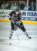 KELOWNA, CANADA - SEPTEMBER 25: Tanner Wishnowski #9 of Kelowna Rockets skates with the puck against the Kamloops Blazers on September 25, 2015 at Prospera Place in Kelowna, British Columbia, Canada.  (Photo by Marissa Baecker/Shoot the Breeze)  *** Local Caption *** Tanner Wishnowski;