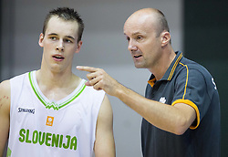 Klemen Prepelic of Slovenia and Jure Zdovc, head coach of Slovenia during friendly basketball match between National teams of Slovenia and Ukraine at day 3 of Adecco Cup 2014, on July 26, 2014 in Rogaska Slatina, Slovenia. Photo by Vid Ponikvar / Sportida.com