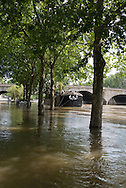 France. Paris flooding. 4th district. Seine river quay of the hotel de Ville.
