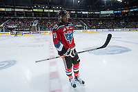 KELOWNA, CANADA - NOVEMBER 11: Devante Stephens #21 of Kelowna Rockets skates to the bench against the Vancouver Giants on November 11, 2015 at Prospera Place in Kelowna, British Columbia, Canada.  (Photo by Marissa Baecker/ShoottheBreeze)  *** Local Caption *** Devante Stephens;