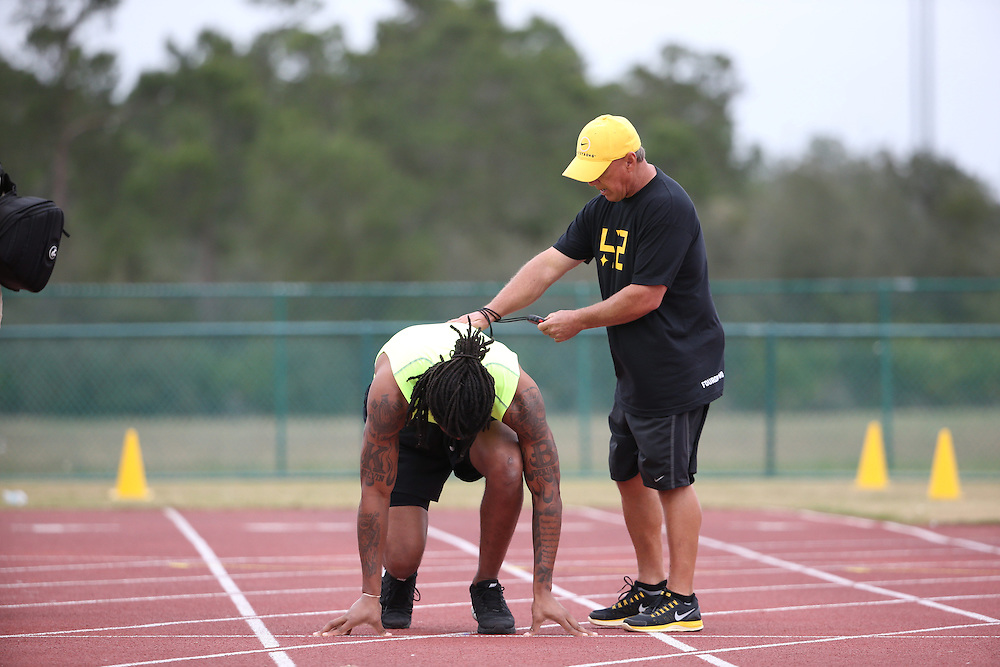 FEB  5 2014:  Kelvin Benjamin trains for the NFL Scouting Combing with Coach Tom Shaw at his facility at Disney's Wide World of Sports in Orlando, Florida. Photo by Tom Hauck.