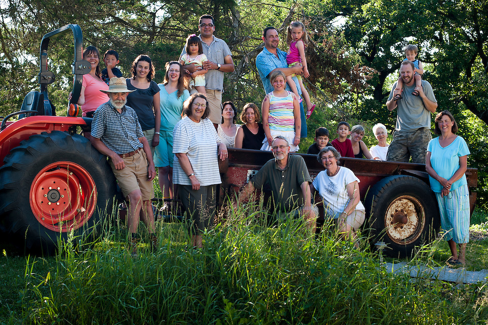 Extended Stute family members are pictured around a tractor-pulled wagon ride during a family gathering at the home of Dave Stute and Peg Rasch in Argyle, Wis., on July 10, 2010.