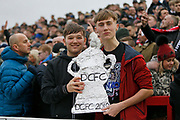 Derby fans with a tin foil replica F A Cup during the The FA Cup fourth round match between Accrington Stanley and Derby County at the Fraser Eagle Stadium, Accrington, England on 26 January 2019.