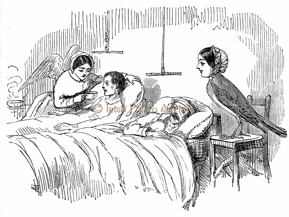 Florence Nightingale (1820 -1910) English nurse and one of her ministering angels in the Crimea, as seen by 'Punch', London, 1854. Crimean War 1853-1856. Wood engraving.