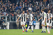 Juventus Forward Cristiano Ronaldo celebrates with Juventus Midfielder Blaise Matuidi 1-0 during the Champions League Group H match between Juventus FC and Manchester United at the Allianz Stadium, Turin, Italy on 7 November 2018.
