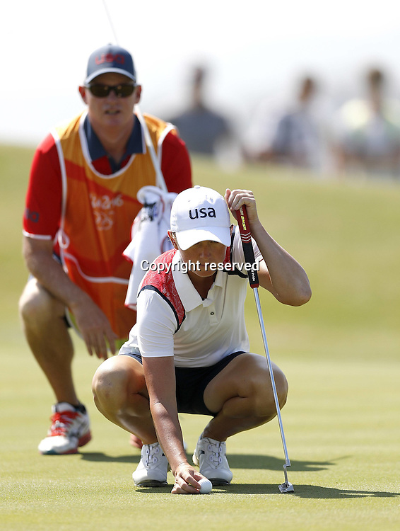 17.08.2016. Rio de Janeiro, Brazil. Olympic Games, womens golf competition 2016.  Stacy Lewis of the United States (USA)  during the 1st round at the Rio Olympics Golf 2016 held at the Olympic Golf Course.