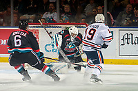 KELOWNA, CANADA - SEPTEMBER 22:  Orrin Centazzo #19 of the Kamloops Blazers scores a goal on James Porter #1 of the Kelowna Rockets during first period on September 22, 2018 at Prospera Place in Kelowna, British Columbia, Canada.  (Photo by Marissa Baecker/Shoot the Breeze)  *** Local Caption ***