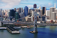 Bay Bridge & Downtown San Francisco (Aerial)