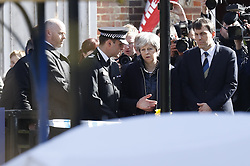 © Licensed to London News Pictures. 15/03/2018. Salisbury, UK. British Prime Minister THERESA MAY visits Salisbury, Wiltshire where Former Russian spy Sergei Skripal and his daughter Yulia were found after being poisoned with nerve agent. The couple where found unconscious on bench in Salisbury shopping centre. A policeman who went to their aid is currently recovering in hospital. Photo credit: Peter Macdiarmid/LNP