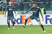 Warsaw, Poland - 2017 February 16: (R) Hakim Ziyech of Ajax Amsterdam controls the ball during soccer match Legia Warszawa v Ajax Amsterdam - UEFA Europe League  at Municipal Stadium on February 16, 2017 in Warsaw, Poland.<br /> <br /> Mandatory credit:<br /> Photo by &copy; Adam Nurkiewicz / Mediasport<br /> <br /> Adam Nurkiewicz declares that he has no rights to the image of people at the photographs of his authorship.<br /> <br /> Picture also available in RAW (NEF) or TIFF format on special request.<br /> <br /> Any editorial, commercial or promotional use requires written permission from the author of image.