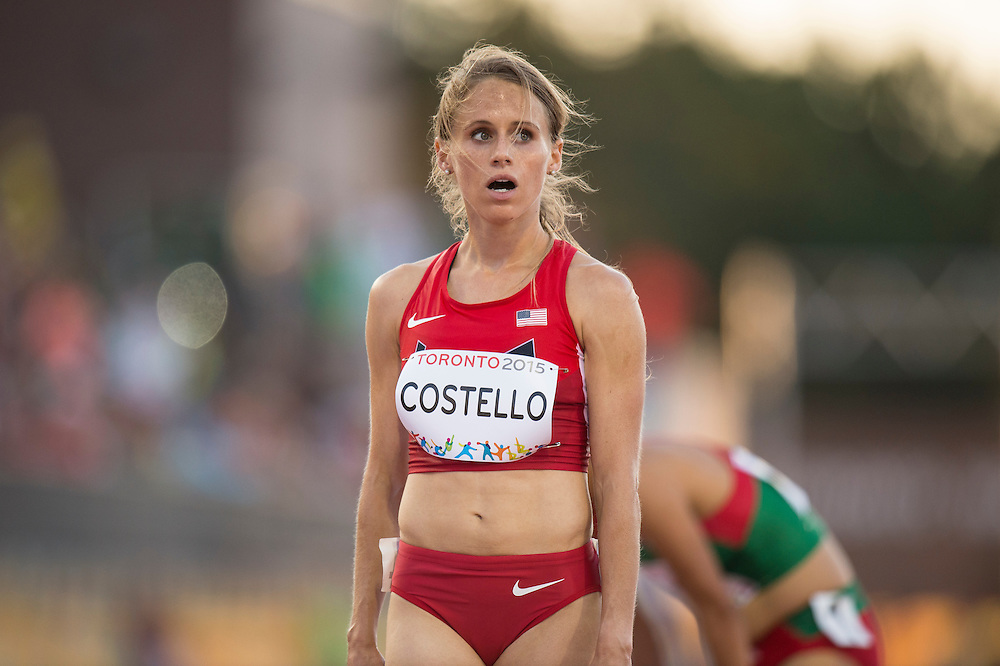 Women's 10,000 meter race: Liz Costello-USA after finishing fourth during athletics competition at the 2015 PanAm Games in Toronto.