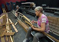 Winnipesaukee striking Mousetrap / building Ballyhoo sets.  (Karen Bobotas/for the Laconia Daily Sun)