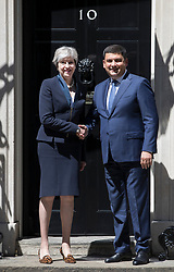 © Licensed to London News Pictures. 05/07/2017. London, UK. British Prime Minister Theresa May meets with Ukrainian Prime Minister Volodymyr Groysman in Downing Street. Photo credit: Peter Macdiarmid/LNP