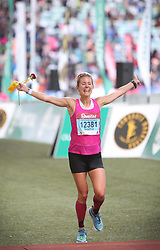 10062018 (Durban) A position 6th  Sophia Sundberg, Sweden run towards the finnish line during the 2018 Comrades marathon in Durban.<br /> Picture: Motshwari Mofokeng