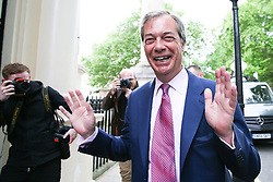 © Licensed to London News Pictures. 27/05/2019. London, UK. Nigel Farage, leader of the Brexit Party and a MEP for South East England arrives at the EU election results press conference in Westminster. The newly formed Brexit Party wants the UK to leave the EU without an agreement won 10 of the UK's 11 regions, gaining 28 seats, more than 32% of the vote across the country and are largest party in nine regions. Photo credit: Dinendra Haria/LNP