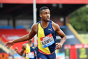 Akeem Bloomfield (JAM) crosses the finish line in a time of 45.04 to win the men's 400m during the Birmingham Grand Prix, Sunday, Aug 18, 2019, in Birmingham, United Kingdom. (Steve Flynn/Image of Sport via AP)