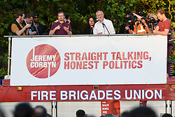 © Licensed to London News Pictures. 15/08/2016. Labour Party leader JEREMY CORBYN speaks at a BAME( British. Black, Asian, and minority ethnic) rally in Highbury Fields, London, UK. Photo credit: Ray Tang/LNP
