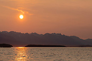 Evening sun over the Chilkat Range in Southeast Alaska. Summer.