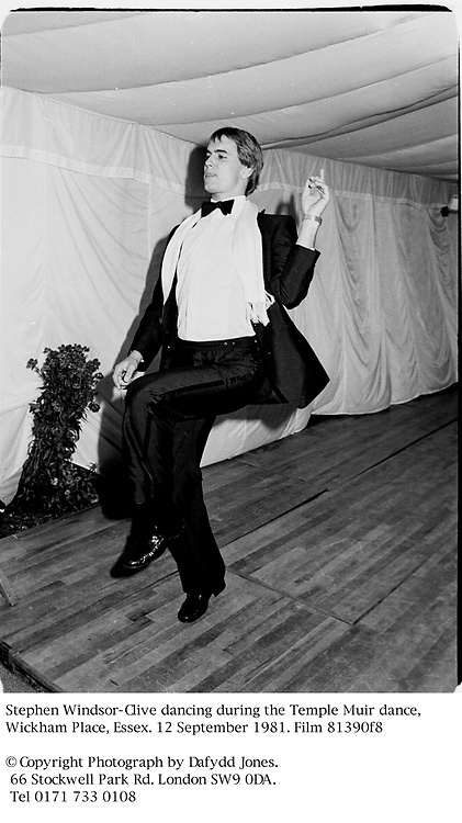Stephen Windsor-Clive dancing during the Temple Muir dance, Wickham Place, Essex. 12 September 1981. Film 81390f8<br />
