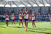 The Warriors warm up. Parramatta Eels v Vodafone Warriors. NRL Rugby League. Bankwest Stadium, Sydney, Australia. 27th July 2019. Copyright Photo: David Neilson / www.photosport.nz