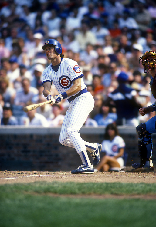 CHICAGO - AUGUST 1987:  Baseball Hall of Fame infielder Ryne Sandberg of the Chicago Cubs bats during an MLB game at Wrigley Field during August 1987.  (Photo by Ron Vesely)