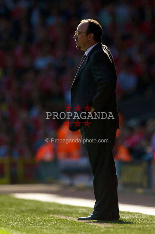 LIVERPOOL, ENGLAND - Saturday, September 12, 2009: Liverpool's manager Rafael Benitez against Burnley during the Premiership match at Anfield. (Photo by David Rawcliffe/Propaganda)