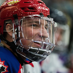 MISSISSAUGA, ON  - JAN 23,  2018: Canadian Junior Hockey League, Prospects Game 2018, Mason Snell #20 of CJHL Prospect Team East smiles during the second period.<br /> (Photo by Kevin Raposo / OJHL Images)