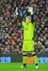 LIVERPOOL, ENGLAND - Boxing Day, Saturday, December 26, 2015: Leicester City's goalkeeper Kasper Schmeichel in action against Liverpool during the Premier League match at Anfield. (Pic by David Rawcliffe/Propaganda)