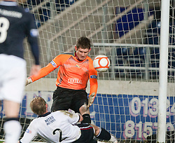 Falkirk's Michael McGovern saves from Dundee's 2 Gary Irvine..Falkirk 1 v 1 Dundee..© Michael Schofield.