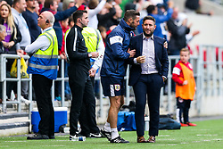 Bristol City Head Coach Lee Johnson and his assistants celebrate after Jamie Paterson of Bristol City scores a goal from a freekick to make it 3-1 - Rogan/JMP - 16/09/2017 - Ashton Gate Stadium - Bristol, England - Bristol City v Derby County - Sky Bet Championship.
