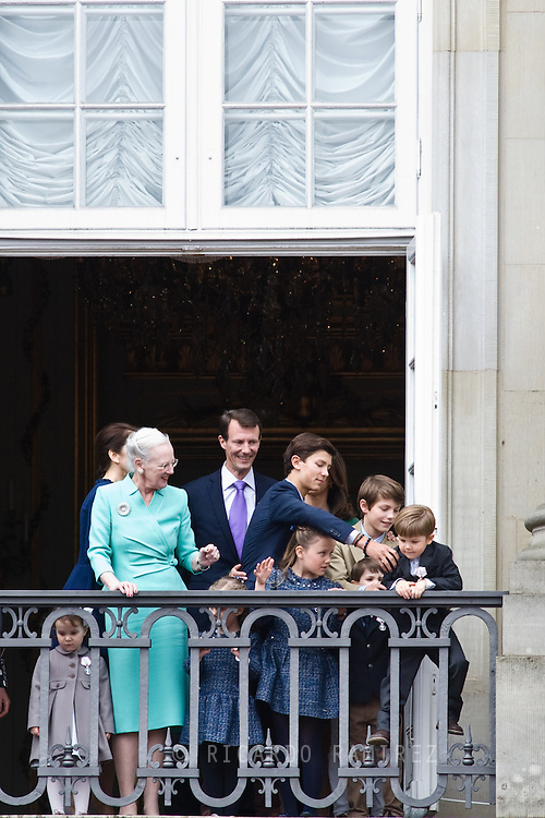 16.04.2015. Copenhagen, Denmark.<br /> Queen Margrethe II celebrates her 75th birthday with her whole family, From left to right Frederik, Crown Prince of Denmark, Princess Isabella of Denmark, Mary, Crown Princess of Denmark, Prince Vincent of Denmark, Prince Christian of Denmark, Prince Nikolai of Denmark, Prince Felix of Denmark, Prince Henrik of Denmark, Princess Athena of Denmark  Prince Joachim of Denmark and Princess Josephine of Denmark wave on the balcony of Amalienborg Palace.<br /> Photo:© Ricardo Ramirez