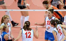 01-10-2014 ITA: World Championship Volleyball Servie - Nederland, Verona<br /> Nederland verliest met 3-0 van Servie en is kansloos voor plaatsing final 6 / Brankica Mihajlovic, Tijana Boskovic