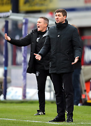 Rangers manager Steven Gerrard (right) looks on during the Scottish Premiership match at Dens Park, Dundee.