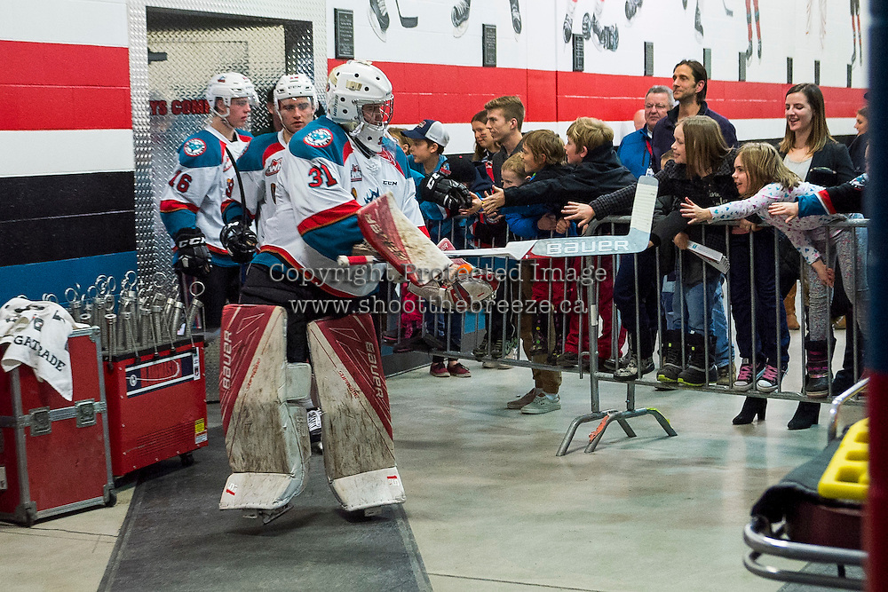 KELOWNA, CANADA - JANUARY 7: Brodan Salmond #31 of the Kelowna Rockets acknowledges fans and lead the team to the ice against the Kamloops Blazers on January 7, 2017 at Prospera Place in Kelowna, British Columbia, Canada.  (Photo by Marissa Baecker/Shoot the Breeze)  *** Local Caption ***