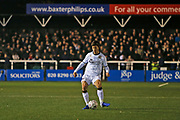 Billy Bingham plays a pass during the The FA Cup match between Bromley and Bristol Rovers at the Westminster Waste Stadium, Bromley, United Kingdom on 19 November 2019.