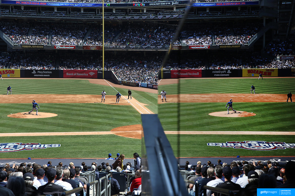 Drew Hutchison, Toronto Blue Jays, pitching during the New York Yankees Vs Toronto Blue Jays season opening day at Yankee Stadium, The Bronx, New York. 6th April 2015. Photo Tim Clayton