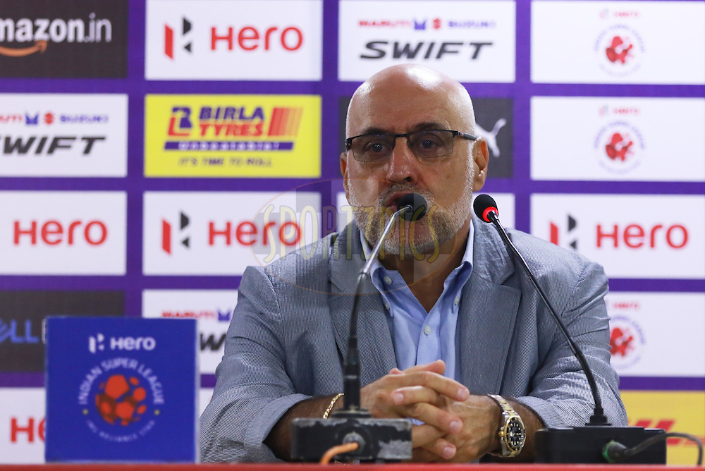 NEUFC Head coach Nelo Vingada at pc during match 18 of the Indian Super League (ISL) season 3 between NorthEast United FC and Chennaiyin FC held at the Indira Gandhi Athletic Stadium in Guwahati, India on the 20th October 2016.<br /> <br /> Photo by Saikat Das / ISL/ SPORTZPICS