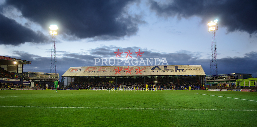OLDHAM, ENGLAND - Saturday, November 10, 2012: Floodlights illuminate Boundary Park as Oldham Athletic take on Tranmere Rovers during the Football League One match. (Pic by David Rawcliffe/Propaganda)