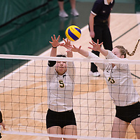 2nd year setter Satomi Togawa (5) of the Regina Cougars in action during Women's Volleyball home game on January 12 at Centre for Kinesiology, Health and Sport. Credit: /Arthur Images 2018