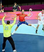 DESCRIZIONE : Handball Jeux Olympiques Londres <br /> GIOCATORE :<br /> SQUADRA : Espagne HOMME<br /> EVENTO :  Handball Jeux Olympiques<br /> GARA : Croatie Espagne<br /> DATA : 06 08 2012<br /> CATEGORIA : handball Jeux Olympiques<br /> SPORT : HANDBALL<br /> AUTORE : JF Molliere <br /> Galleria : France JEUX OLYMPIQUES 2012 Action<br /> Fotonotizia : France Handball Homme Jeux Olympiques Londres premier tour Copper Box<br /> Predefinita :