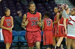 Page Kayla Harris during the player introductions at the 2016 HAECO Invitational