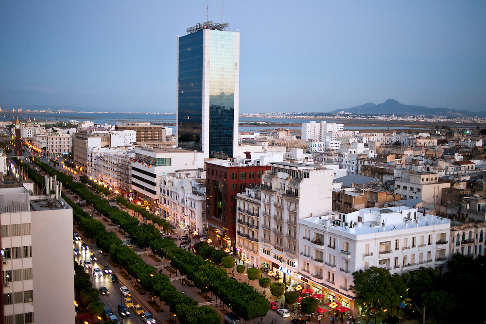 Tunis, Tunisia 16 October 2011<br /> View of Habib Bourguiba avenue.<br /> Photo: Ezequiel Scagnetti